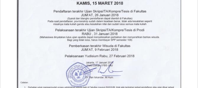 Pengumuman Jadwal Pemberkasan Sidang Semester Ganjil 2017/2018