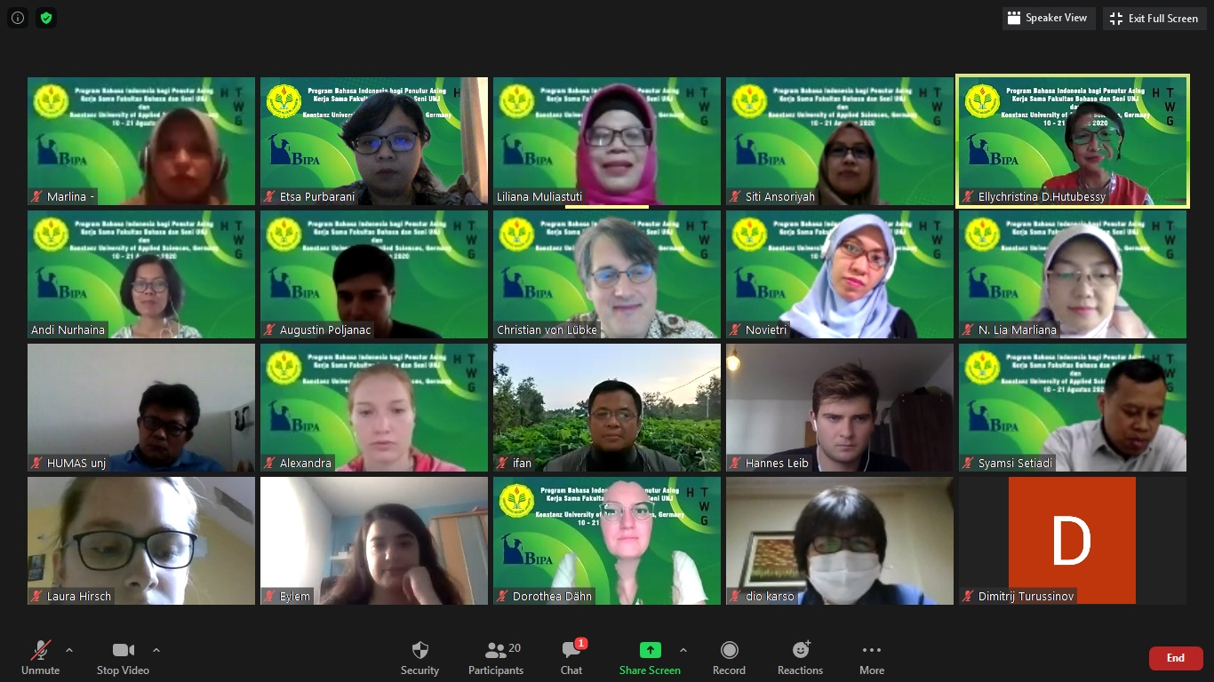 Pembukaan Program Kuliah Bahasa Indonesia bagi Penutur Asing (BIPA) secara daring kerja sama Fakultas Bahasa dan Seni UNJ  dengan Konstanz University of Applied Sciences, Senin, 10 Agustus 2020